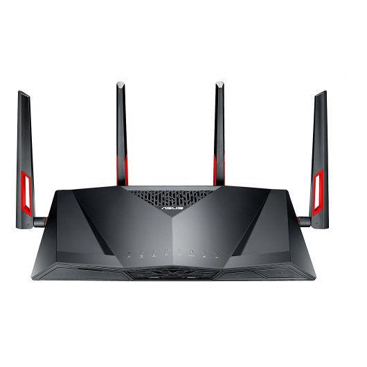 Asus DSL-AC88U Router Inalámbrico Doble Banda (2,4 Ghz / 5 Ghz) Gigabit Ethernet Negro/Rojo