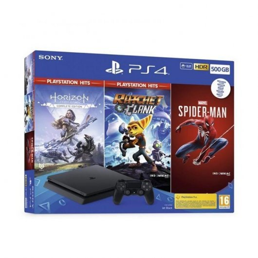 Consola Sony PS4 Slim 500GB + Horizon Zero + Ratchet & Clank + Spider-Man