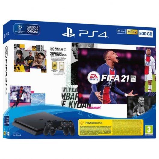 Sony Consola PS4 Slim 500GB + 2 Mandos DualShock v2 + FIFA 21 + Contenido Descargable FUT 21 / Código 14 Días PS PLUS