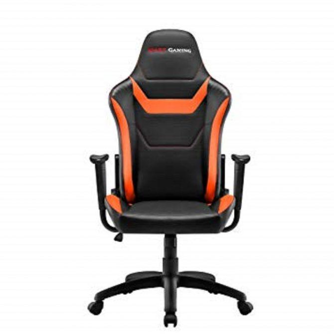 Silla Gamer  Mars Gaming Mgc218bo Color Negro Detalles En Naranja Y Carbono Reclinable Doble Capa De Acolchado Cuero Sintetico Con Microperforaciones