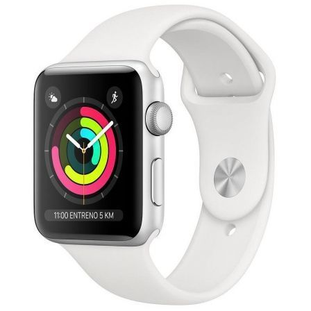 Apple watch series 3 gps 42mm caja aluminio plata con correa deportiva blanca - mtf22ql/a