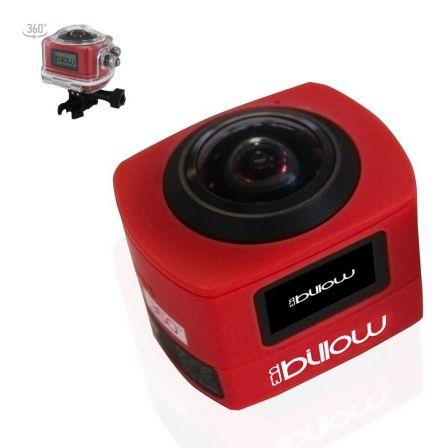 Cámara deportiva billow xs360pror roja - lcd - 16mpx - full hd - batería 1000mah - microsd hasta 32gb - sumergible 30m -